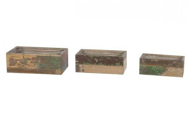 Kasten Holz S/3 32x5/28,5/25cm mit Plastik, antik
