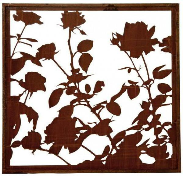 Rost Bild Rosen 100x100cm mit Umrandung