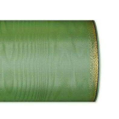 Kranzband 6694/100mm 25m Moire Goldrand, 606 h.grün