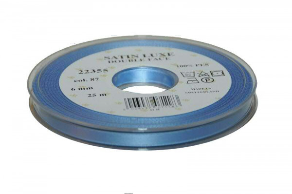 Band Satin 22355/06mm 25m, 087 h.blau