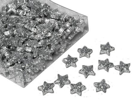 Sterne 1,7cm 144St.mit Glitter, silber