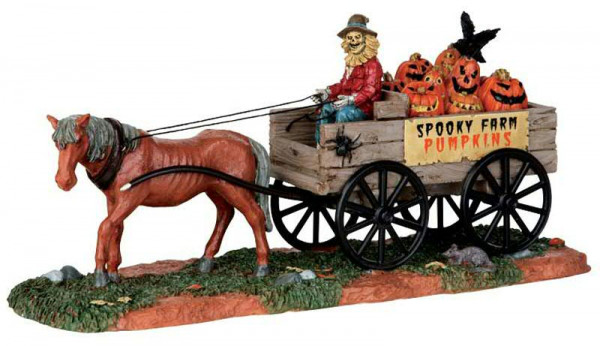 Halloween Pumpkin Wagon 22x10cm