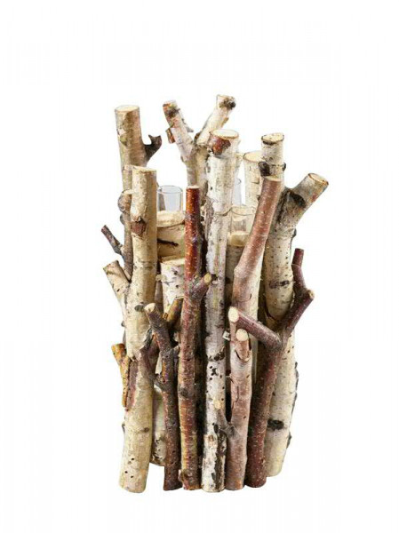 Deko Holz D15H20cm m.3Gläsern, natur