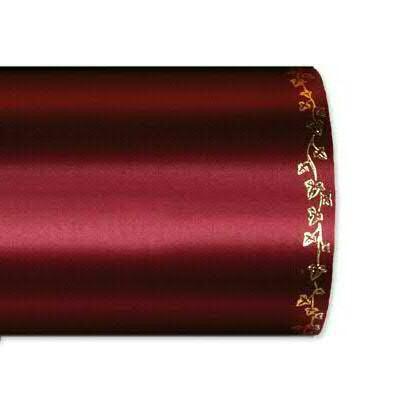 Kranzband 2505/150mm 25m Satin Efeurand gold, 765 d.rot