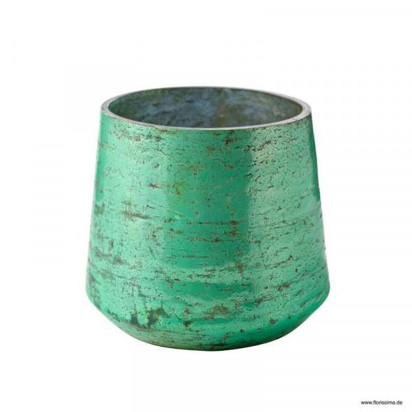 Glas Kübel D14H12cm konisch rund, hellgrün