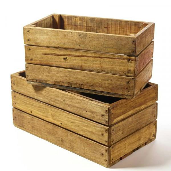 Kiste Holz S/2 SP 50x30x26+50x36x27cm, natur