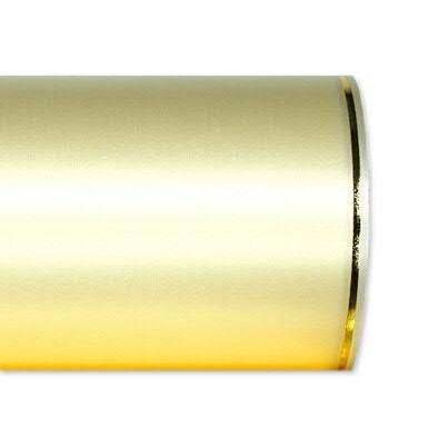 Kranzband 2501/125mm 25m Satin Goldrand, 778 creme