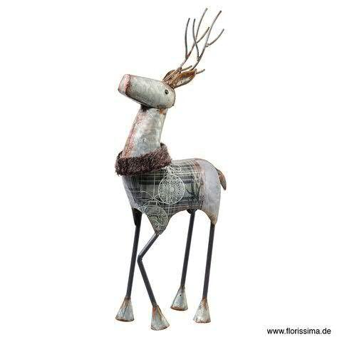 Hirsch Metall 19x43cm mit Kragen, silber