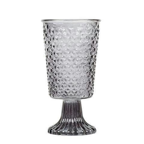 Glas Windlicht H18,5D10cm auf Fuß, grau