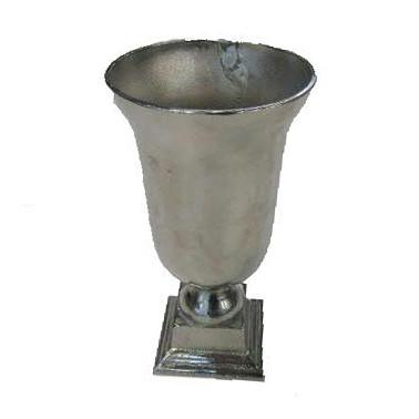 Pokal Alu antik D14H28cm auf Fuß, silber