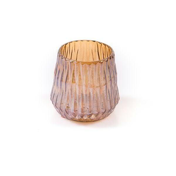 Klocke Deko glas windlicht d13h13cm rille braun windlichter kerzenzubehör