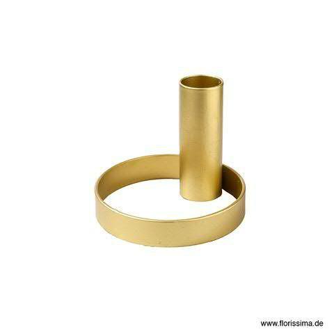 Kerzenständer Metall D8H6,5cm am Ring, gold
