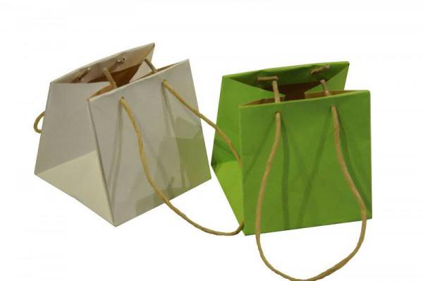 Pflanztasche Papier 10,5x10,5x10,5cm sortiert, grün/weiß
