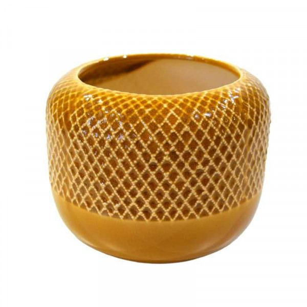 Kübel Keramik D17,5H13cm, senf