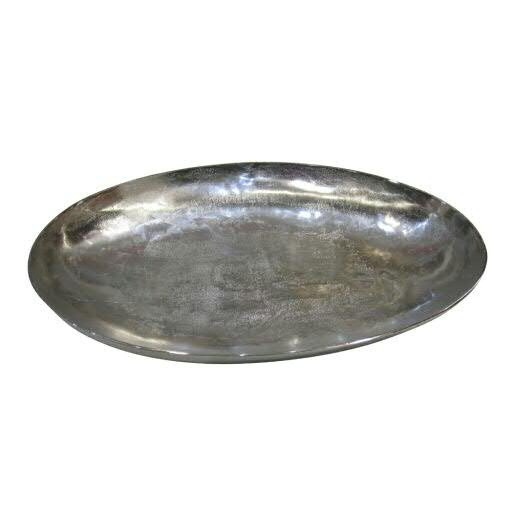 Tablett Alu antik 59x42cm oval, silber