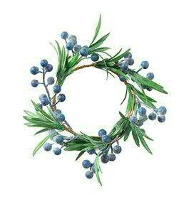 Kranz Beeren D14cm mit Blättern, grün/blau