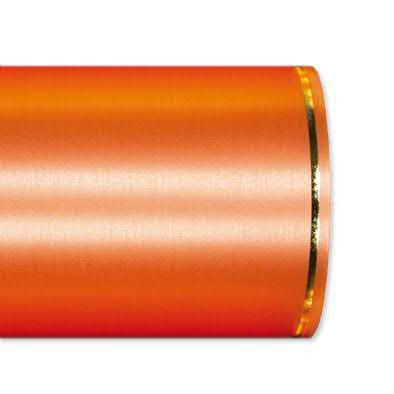 Kranzband 2501/100mm 25m Satin Goldrand, 733 h.oran