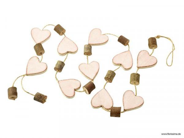 Girlande Holz x10 125cm mit Herzen, pink