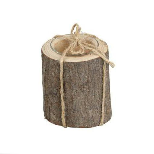 Kerzenleuchter Holz 8,5x10cm mit Glas, natur