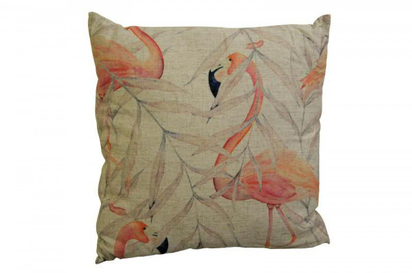 Kissen 45x45cm Flamingomuster, natur/pink