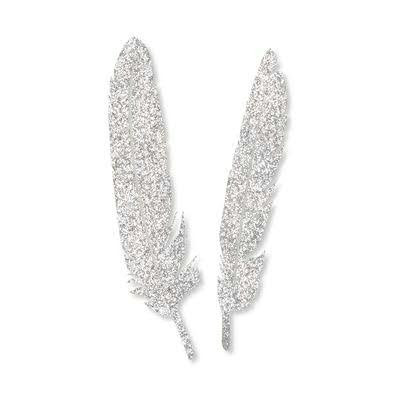 Federn selbstklebend Glitter 4St., 211 silber