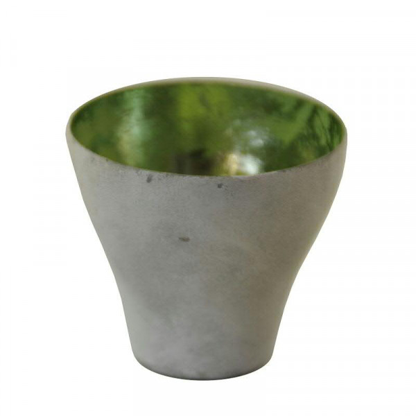 Teelicht Metall 4St. SP D9H8cm, grau/grün