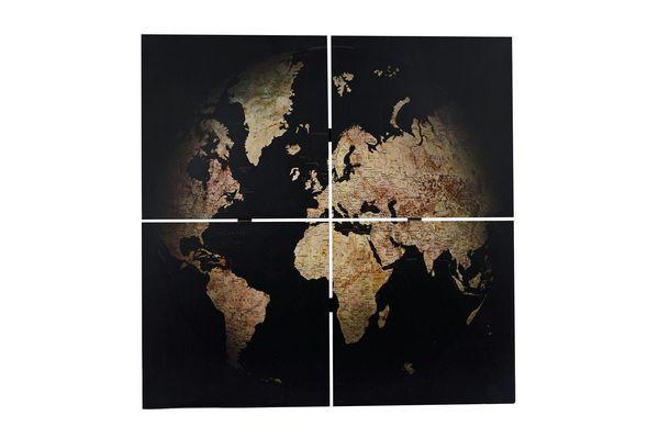 Bild Holz SP 80x80cm 4-teilig Weltkart, schwarz