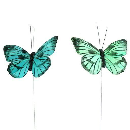 Schmetterling Feder 9,5cm 12St. sort. Stecker, blau/türk.