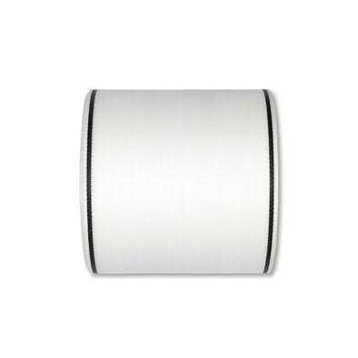 Kranzband 7200/100mm 25m Moire schwarzer Rand, 11 weiß