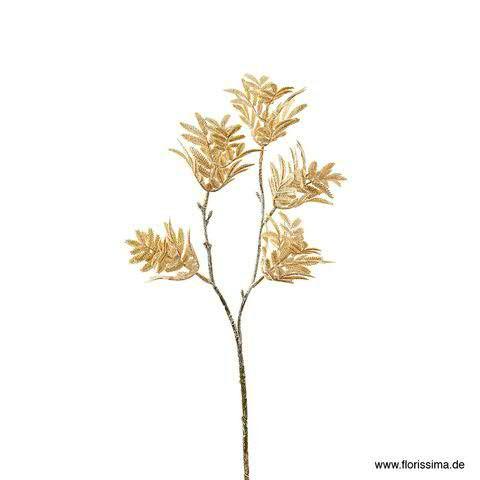Mimosen Zweig 50cm mit Glitzer, sand