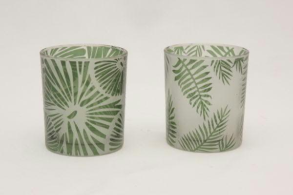 Klocke Deko glas teelicht 9x10cm mit blatt grün teelichter kerzenzubehör