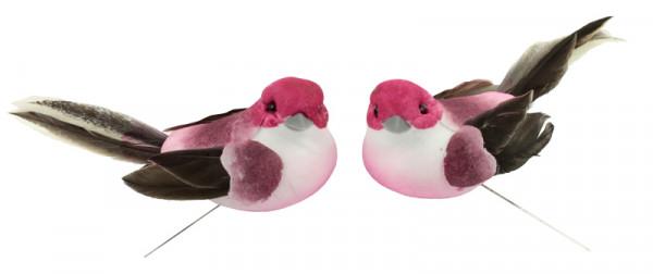 Vogel Federn 10x4,5x4cm 8St. Stecker,mit 20cm Draht, pink