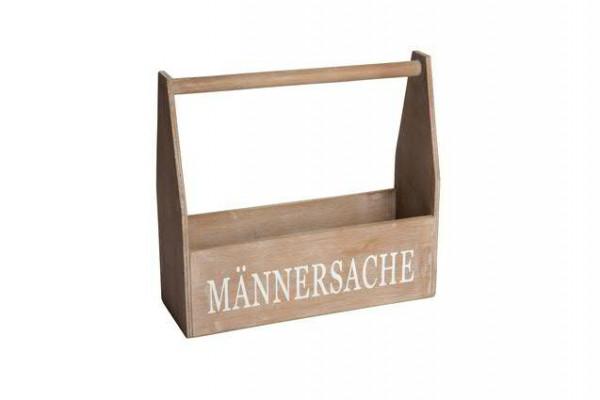 Kiste Holz 35x12x32cm mit Henkel Männersache, braun wash
