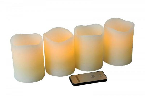 LED Echtwachskerze H10cm 4St. gewellter Rand mit Fernbedienung, creme