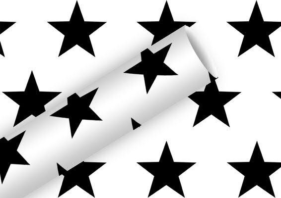 Geschenkpapier 2mx70cm Star, schwarz