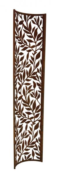 Rost Paravent 40x200cm Blätterranken leicht gebogen