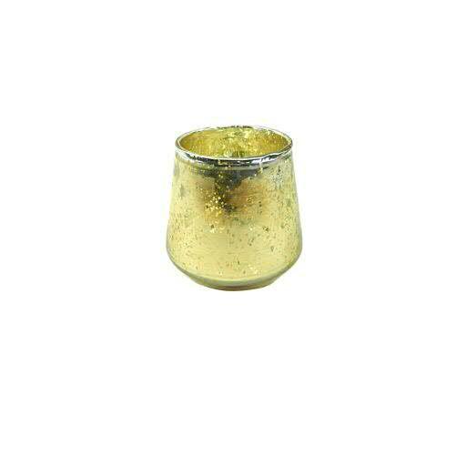 Teelicht Glas 2St. D9H9cm rund, gold