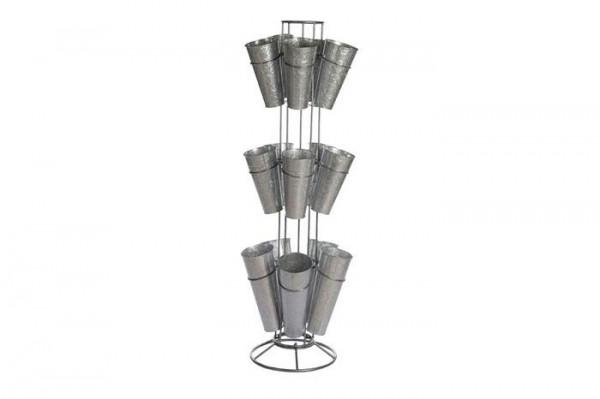 Blumenständer Metall x15 D46H162cm, grau